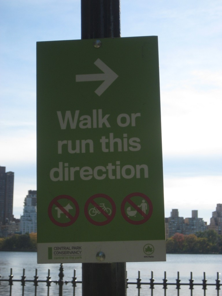 Walk or run this direction sign in Central Park