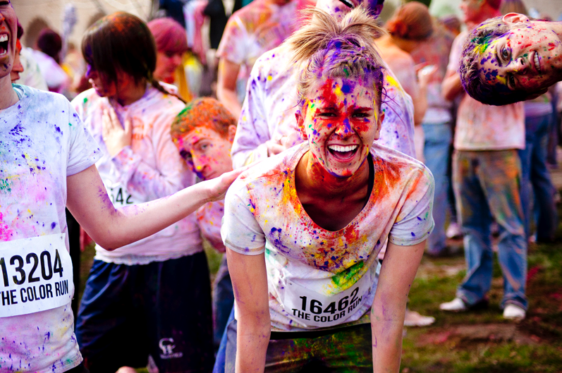 Runners at the end of a Color Run