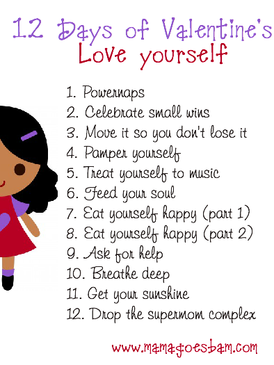 12 days of Valentine's love yourself list